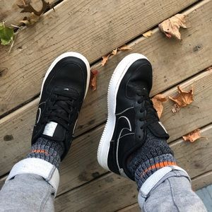 black with holographic detailing nike airforce 1's